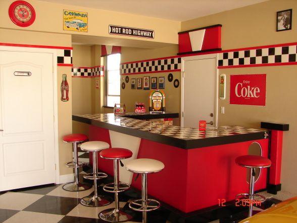 Garage bar ideas 50 39 s garage garage designs for Diner style curtains