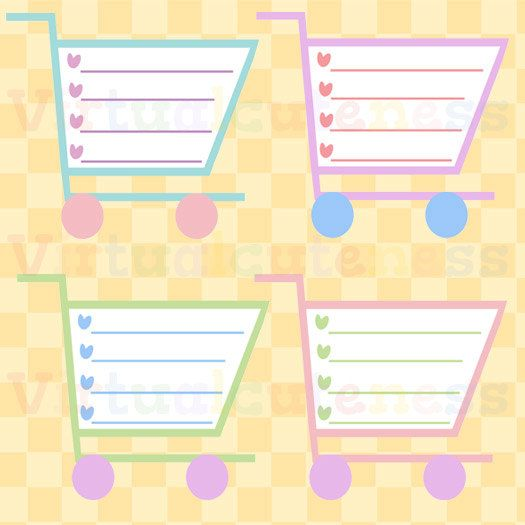 shopping cart shopping list clipart grocery list printable stickers planner scrapbook pastel free commercial and personal use