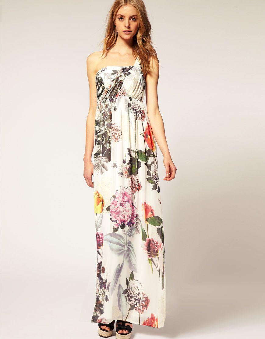 Floral maxi dress wedding  ASOS Floral One Shoulder Maxi Dress   Hawaii wedding