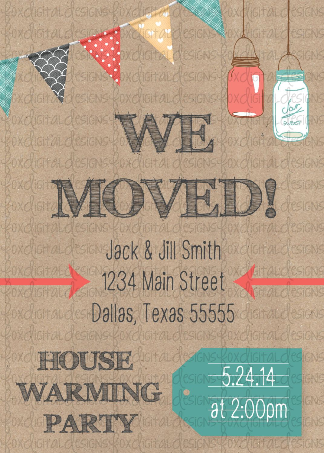Mason Jar Banner We Ve Moved House Warming By Foxdigitaldesigns 10 00 House Warming Invitations Housewarming Party Open House Parties
