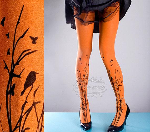 vente collants tattoo orange unique taille for t symphonie pleine longueur ferm e. Black Bedroom Furniture Sets. Home Design Ideas