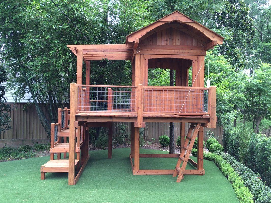 Offering Custom Redwood And Cedar Playsets And Swing Sets Custom Playset Fort Design In Houston Columbus Ro Backyard Swing Sets Backyard Playground Backyard