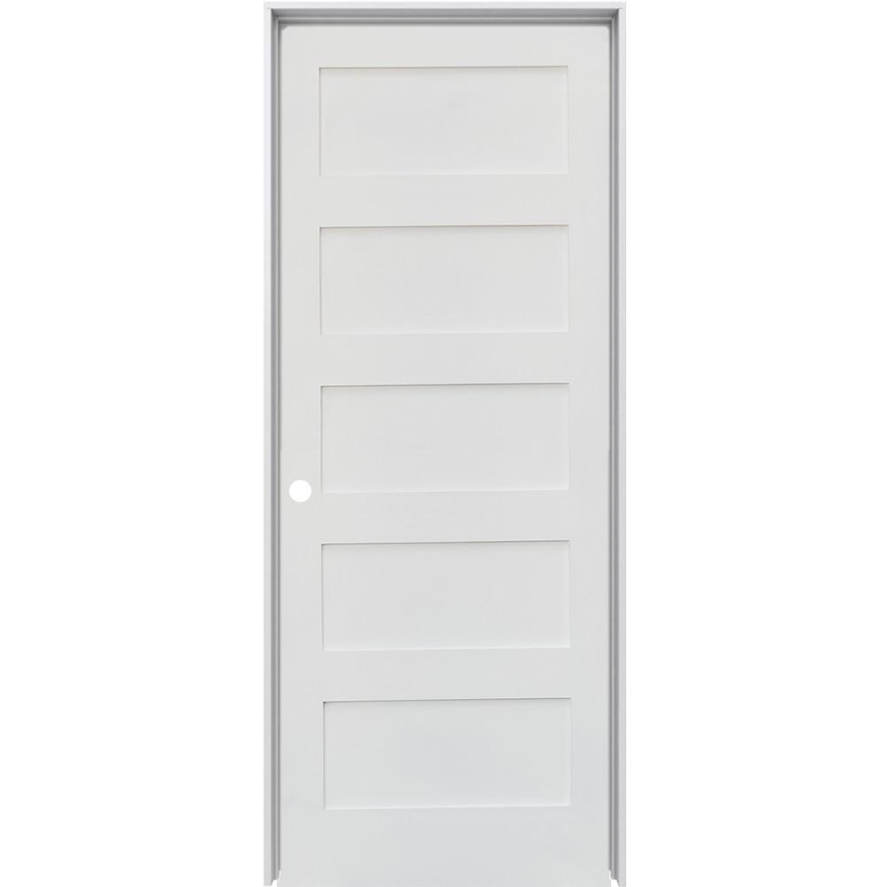Krosswood Doors 36 In X 96 In Shaker 5 Panel Primed Right Hand Solid Hybrid Core Mdf Wood Single Prehung Interior Door Kw Sh151 3080 Rh Prehung Interior Doors Prehung Doors Interior Closet Doors