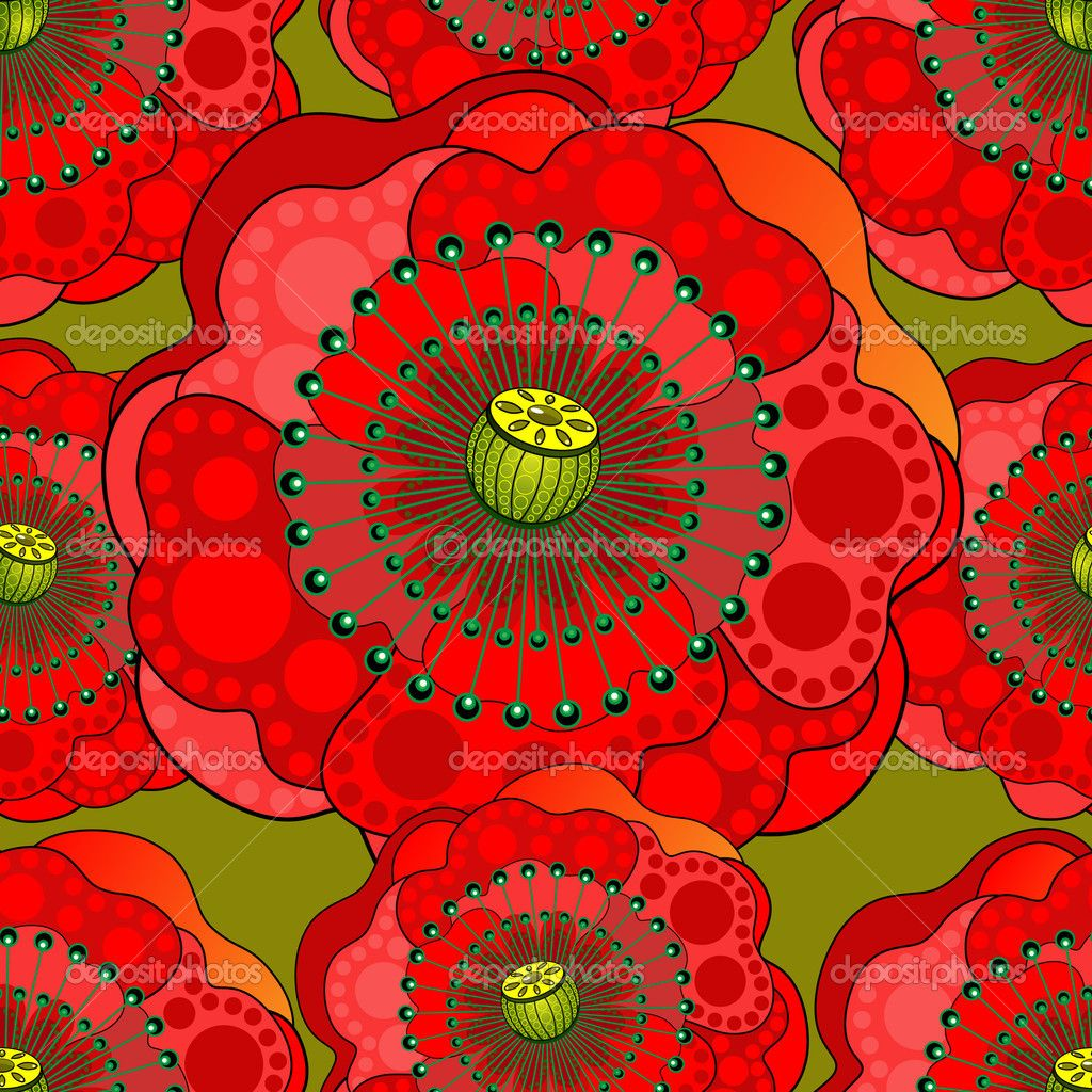 Seamless pattern from red poppy flowers — Stock Vector