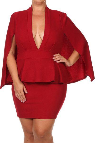 0df0ee98738 Plus Size Kim K Cape Peplum Dress