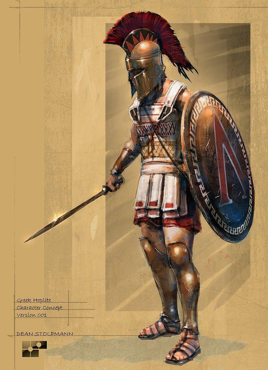 Greek hoplite, the symbol on his shield belongs to Sparta ...