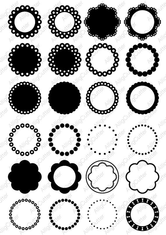 Circle Dot Scallop Monogram Frames SVG DXF PNG eps Cut Files for ...