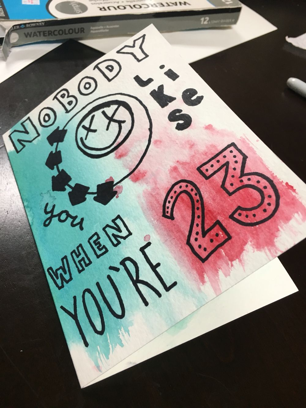 Handmade Diy Watercolor Card For Those 23 Year Olds In Your Life Blink 182 Whats