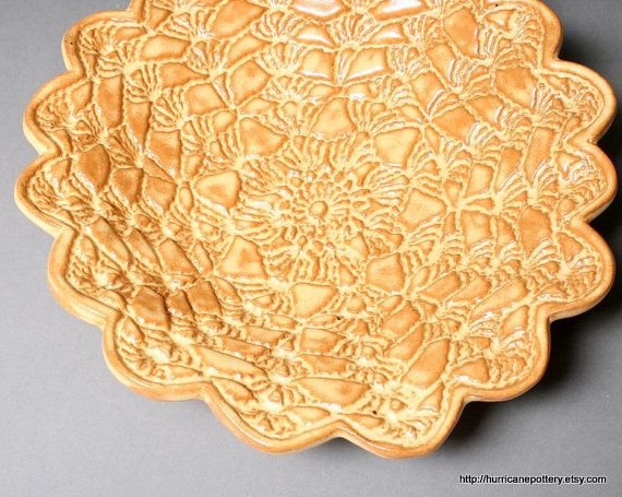 Doily Bowl or Dish Honey Gold and Cinnamon by HurricanePottery, $35.00