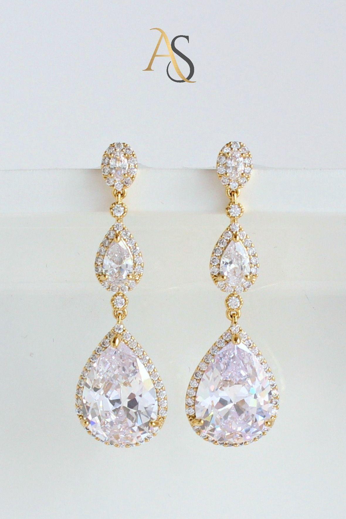 Crystal Drop Wedding Earrings Statement Bridal Teardrop Earrings Dakota Gold Wedding Earrings In 2020 Teardrop Bridal Earrings Wedding Earrings Drop Wedding Earrings