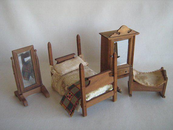 PENDING-Reserved for D -Vintage German Dollhouse Furniture - \