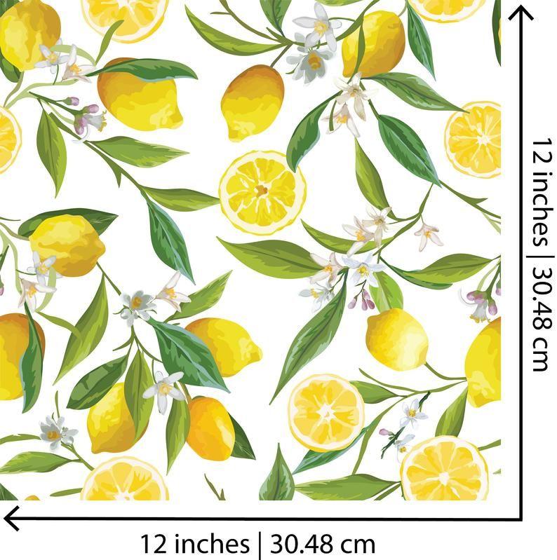 Lemon Lemon Leaves Peel And Stick Wall Paper Removable Wall Etsy Lemon Art Lemon Background Lemon Flowers