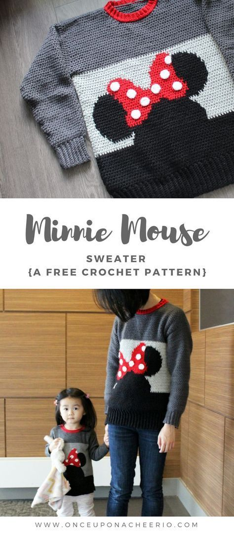 Minnie Mouse Sweater Crochet Pattern #sweatercrochetpattern