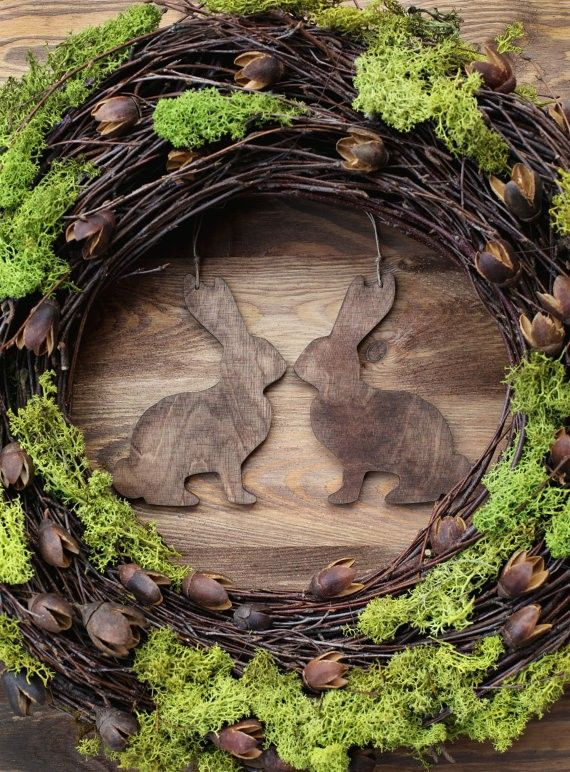 Rustic Easter Wreath 16 Home Decor Spring Door Wreaths Decorations Green Moss Wood Country Woodland Rabbit Bunny