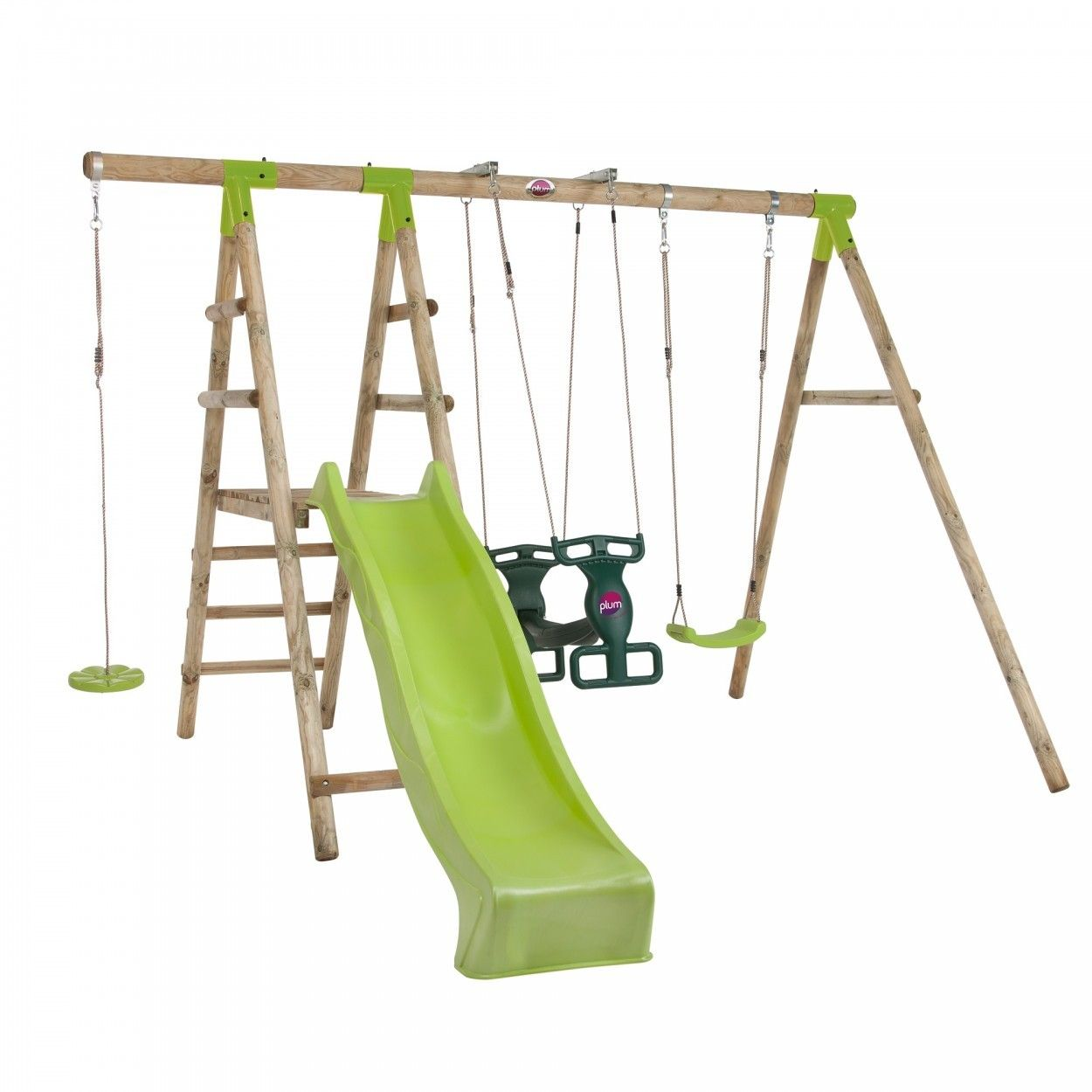 Plum® Muriqui Wooden Swing Set With Slide | Children Play Equipment ...