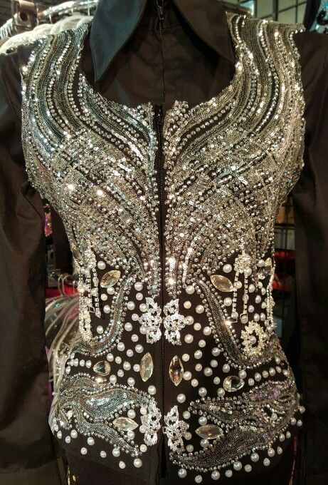 Show Diva Designs new black and silver applique vest and black plain fitted shirt.