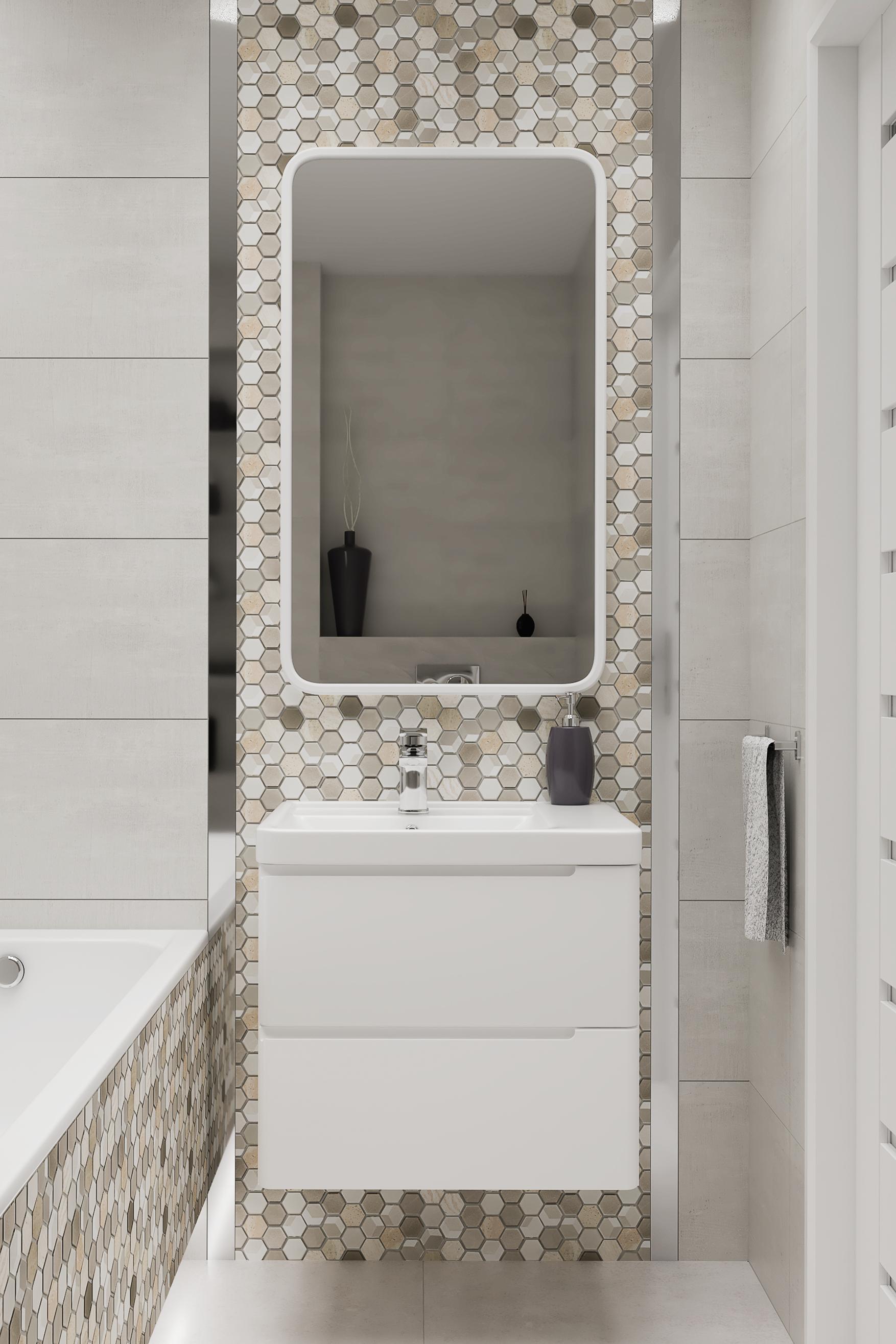 Mała Jasna łazienka Z Wanną I Mozaiką Marki Azario