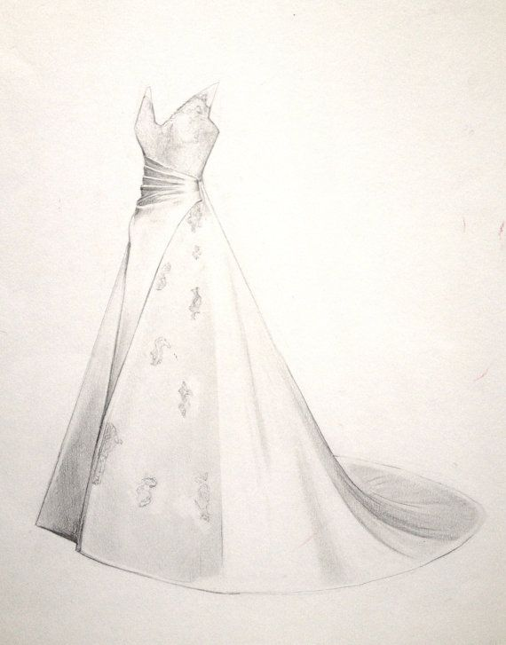Fine Art Wedding Dress Drawing. Gifts for your Wife She\'ll Love ...