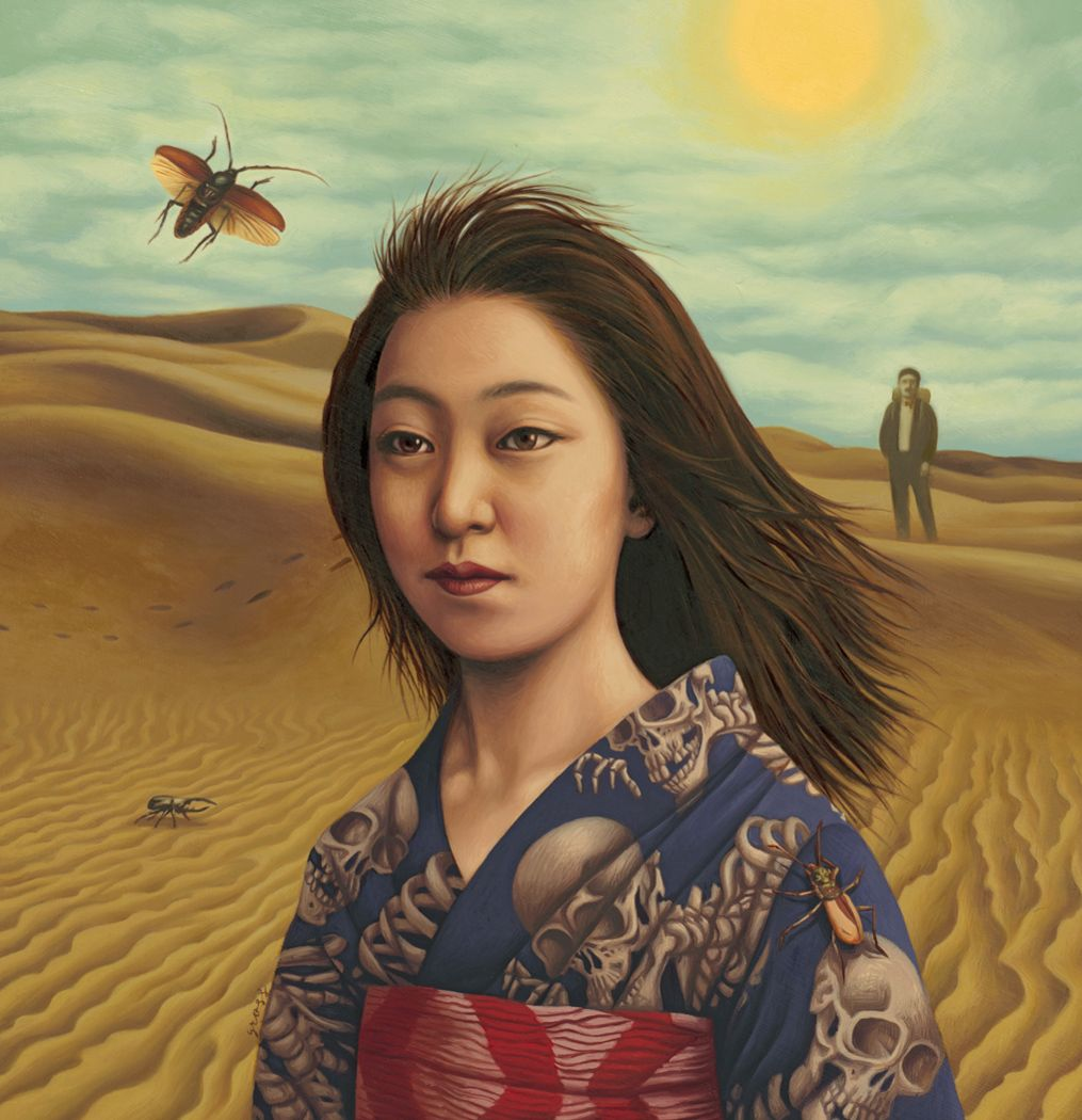 Alex Gross - Woman in the Dunes [Oil on Paper 2011]