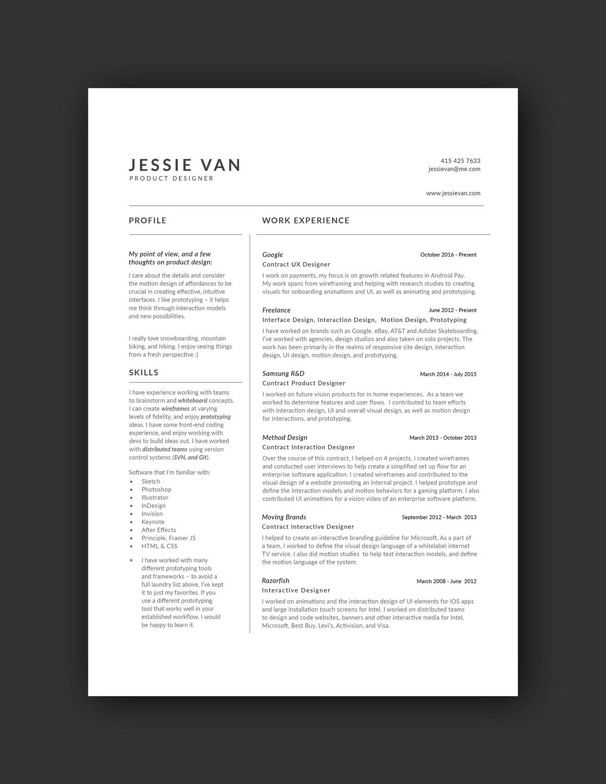 Jessie Van Resume Example Resume Design Ux Design Resume Examples