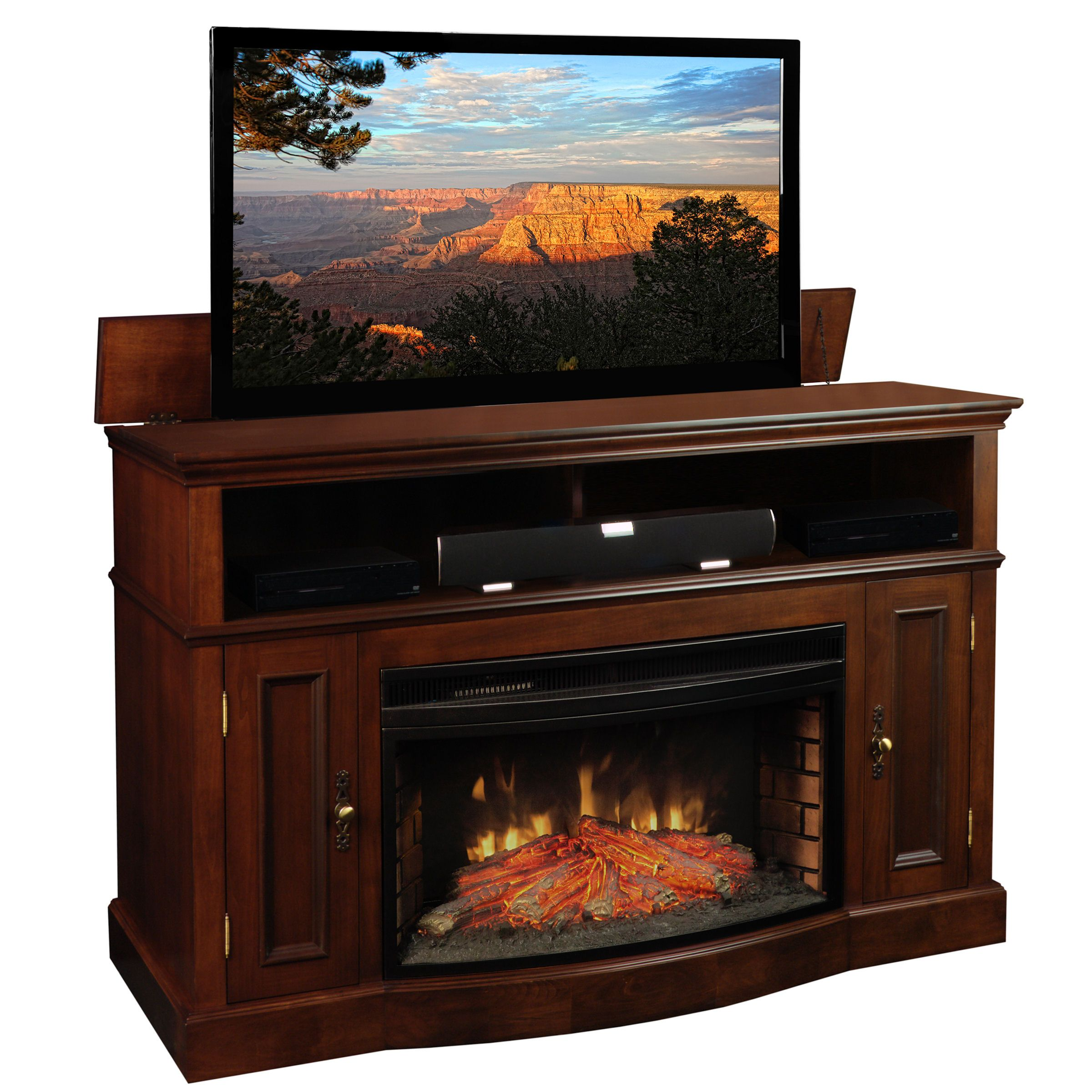 Tv Lift Cabinets Pop Up Consoles Tvliftcabinet Com Tv Lift Cabinet Fireplace Tv Stand Fireplace Entertainment