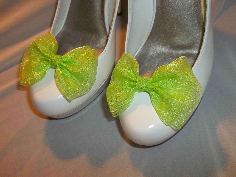 Shoe CLips, Lime Green Chiffon Bow Shoe Clips   Bridal Shoe Clips, Wedding  Shoe CLips, Dressy SHoe Clips, Clips For Wedding Shoes, Bridal By  ShoeClipsOnly ...