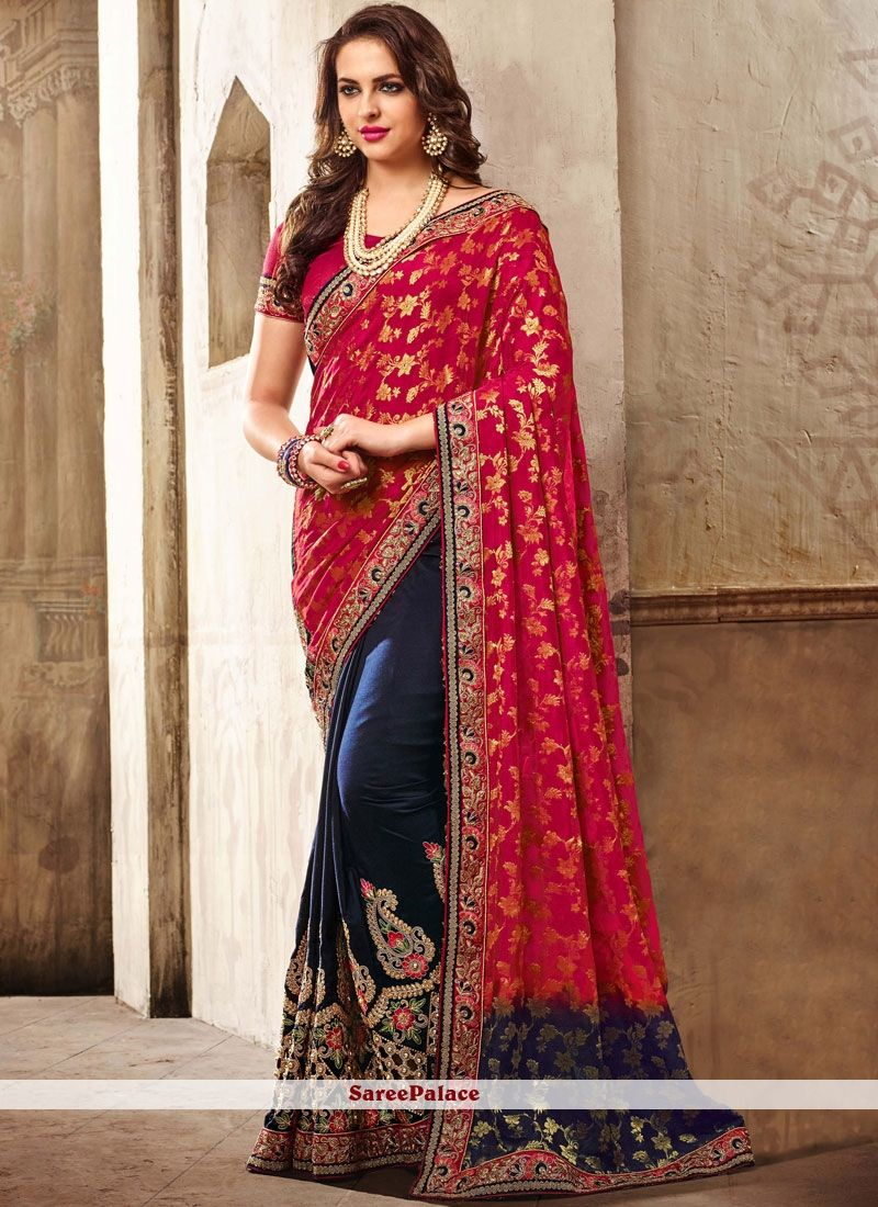 378360ee922d38 Navy Blue and Red Georgette Classic Saree in 2019 | Designer Sarees ...