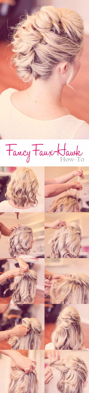 Faux hawk haircut tutorial bun hairstyles pinterest faux hawk