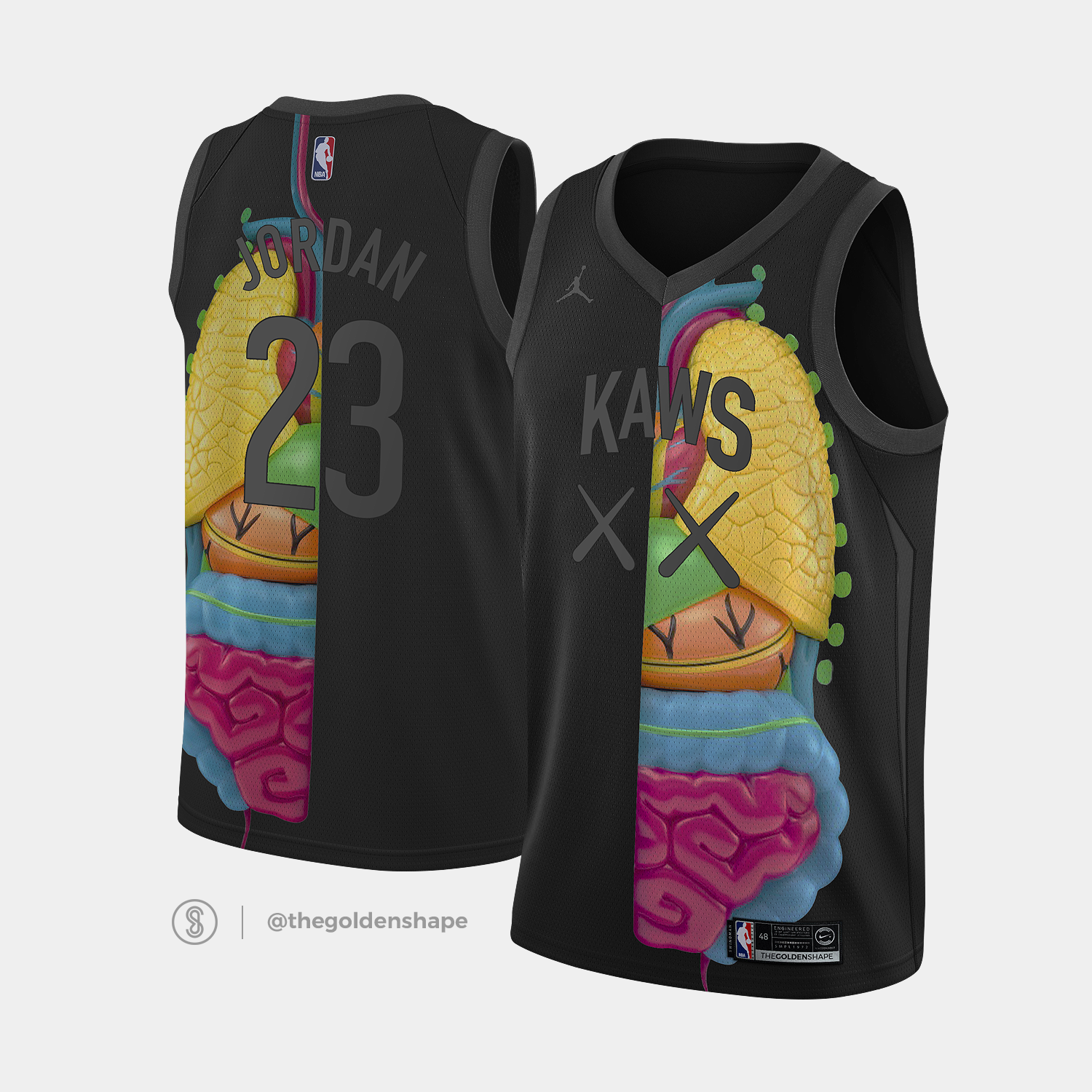 best website 01c8b ea3a4 Brian Donnely KAWS x Jordan x NBA Jersey Companion Black ...