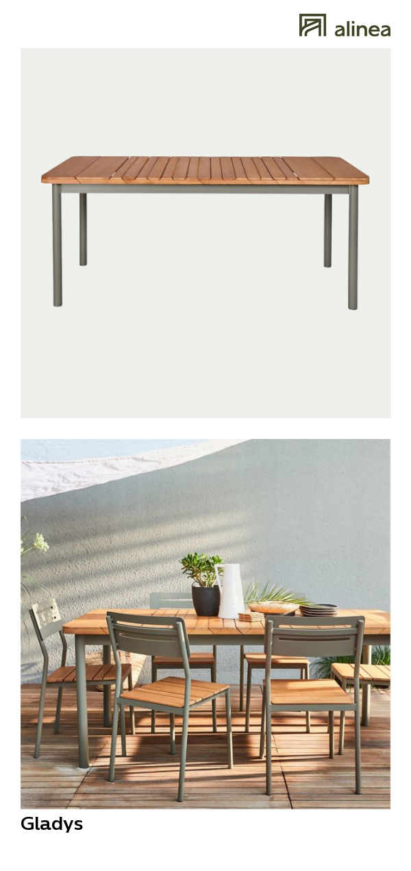 alinea : gladys table de jardin extensible kaki en ...