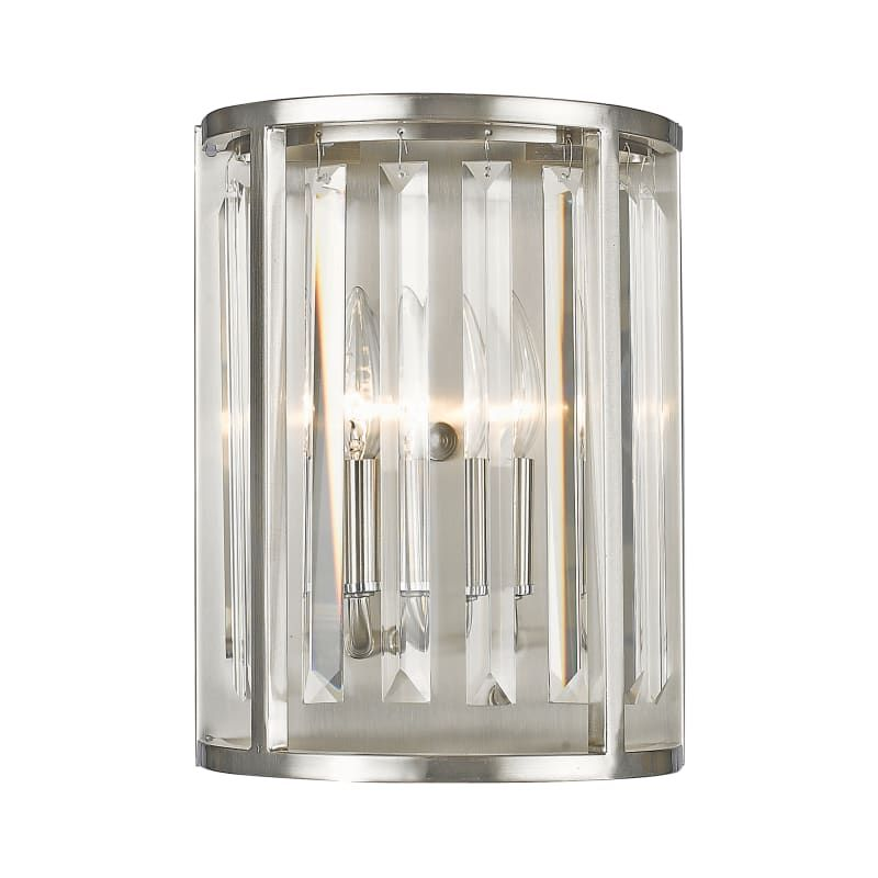 "Photo of Z-Lite 439-2S Monarch 2 Light 12 ""high bevelled crystal wall lamp made of brushed nickel. Indoor lighting. Bathroom fittings. Bathroom lamp"