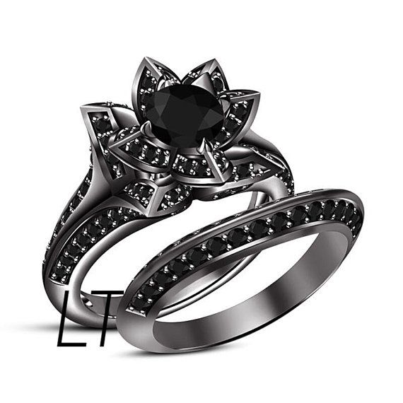 Disney 39 S The Nightmare Before Christmas Sally 39 S Rose Inspired 2 75 Cts Black Swaro Diamond Bridal Ring Sets Black Gold Engagement Rings Bridal Ring Set