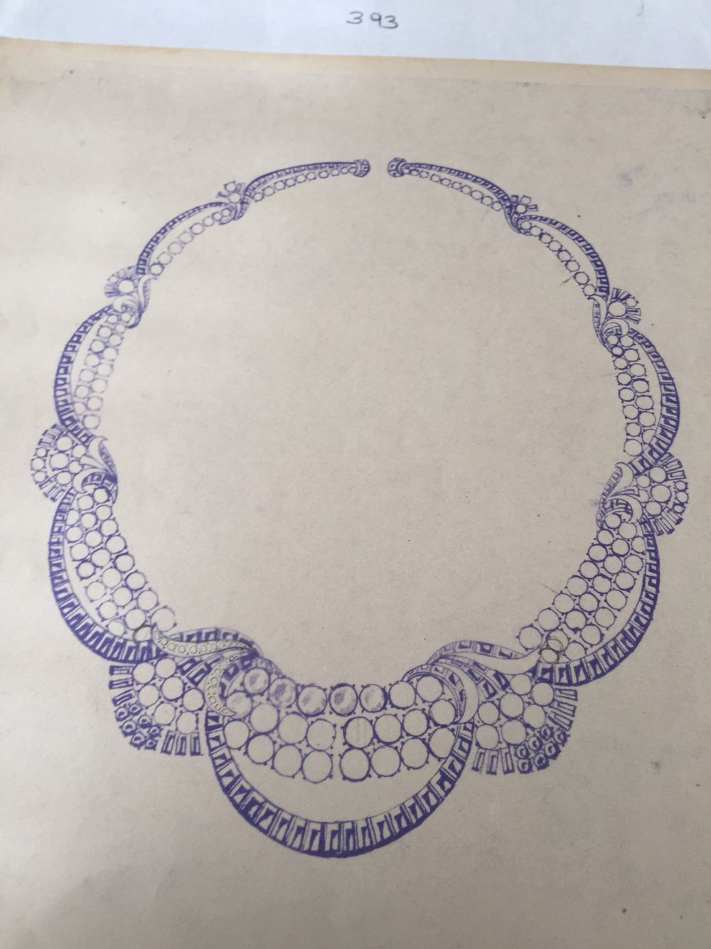 An art deco necklace sketch by the legendary jewellery designer