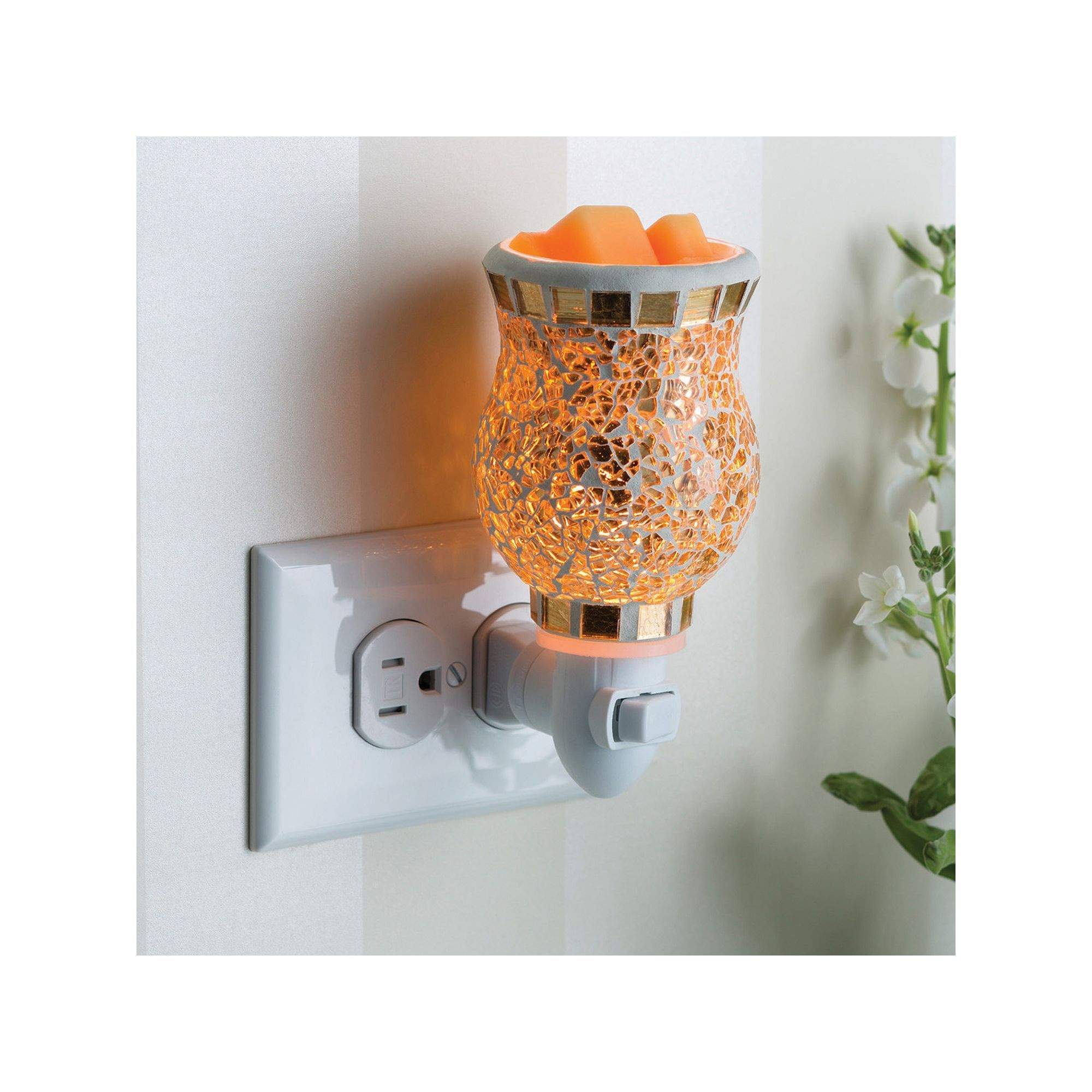 Candle Warmers Etc. Gold-Tone Mosaic Outlet Wax Melt Warmer ...