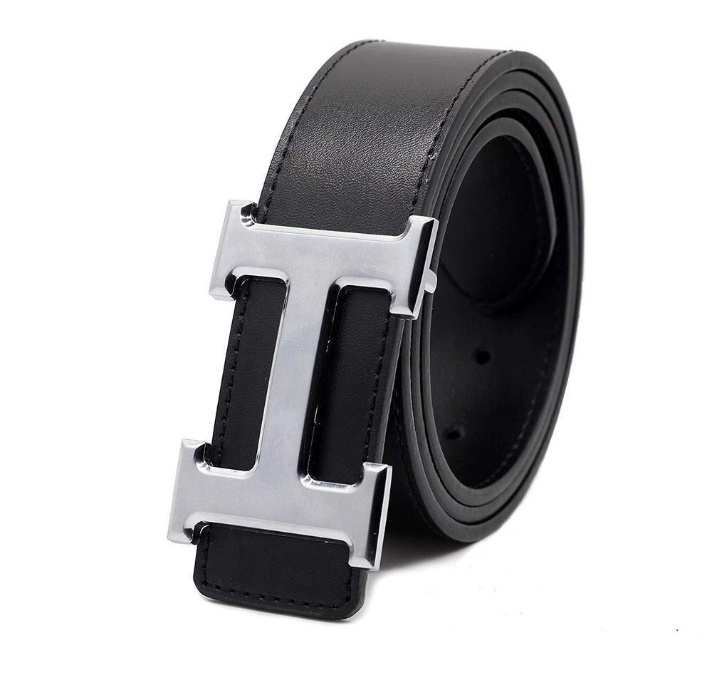 3447993a519 Mens Leather Black Belt H Adjustable Dress Smooth Buckle Men Belt With Gift  Box  fashion