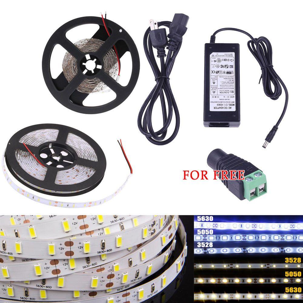 5M 3528 5050 5630 SMD Waterproof White LED Flexible Strip Light Adapter DC 12V