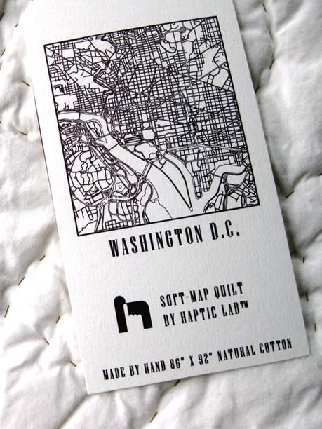 Washington DC City Quilt from Haptic Lab, $450  Def can't afford but this is fantastic.