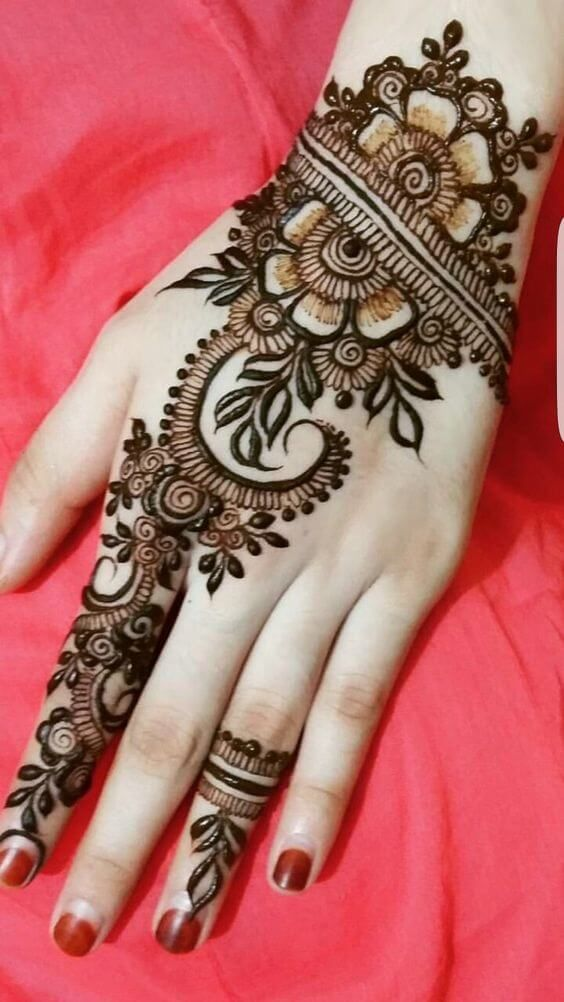 simple mehndi design for left hand full