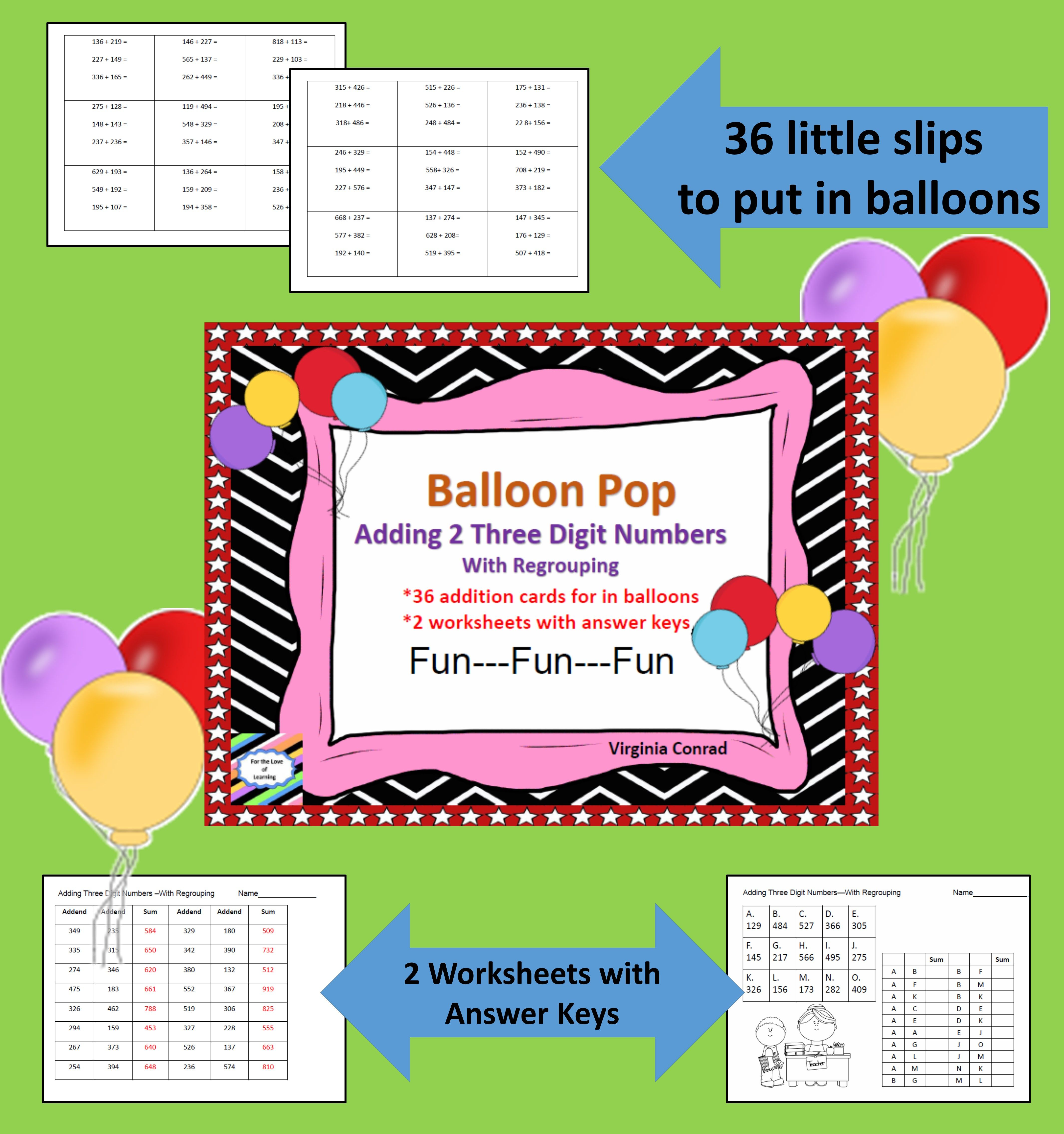 Adding 2 Three Digit Numbers With Regrouping Balloon Pop