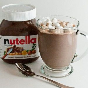 Nutella Hot Chocolate   •4 cups whole milk   •1/2 cup Nutella   •mini marshmallows or whipped cream     In a medium sauce pan over medium-low heat, whisk together milk and Nutella until the Nutella is melted and milk gets nice and warm. Serve in mugs and top with marshmallows or whipped cream. Makes 4 servings.     This can be made ahead of time, cooled, and stored in the fridge.  Reheated on the stove or microwave in individual mugs.  If microwaving, reheat each cup for about 1 minute.