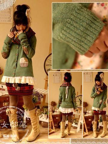 lace pocket knit cardigan