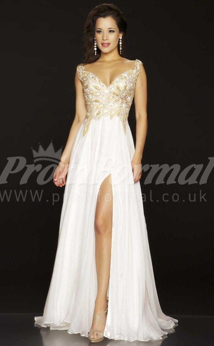 Regency aline vneck velvet chiffon split long prom dresses