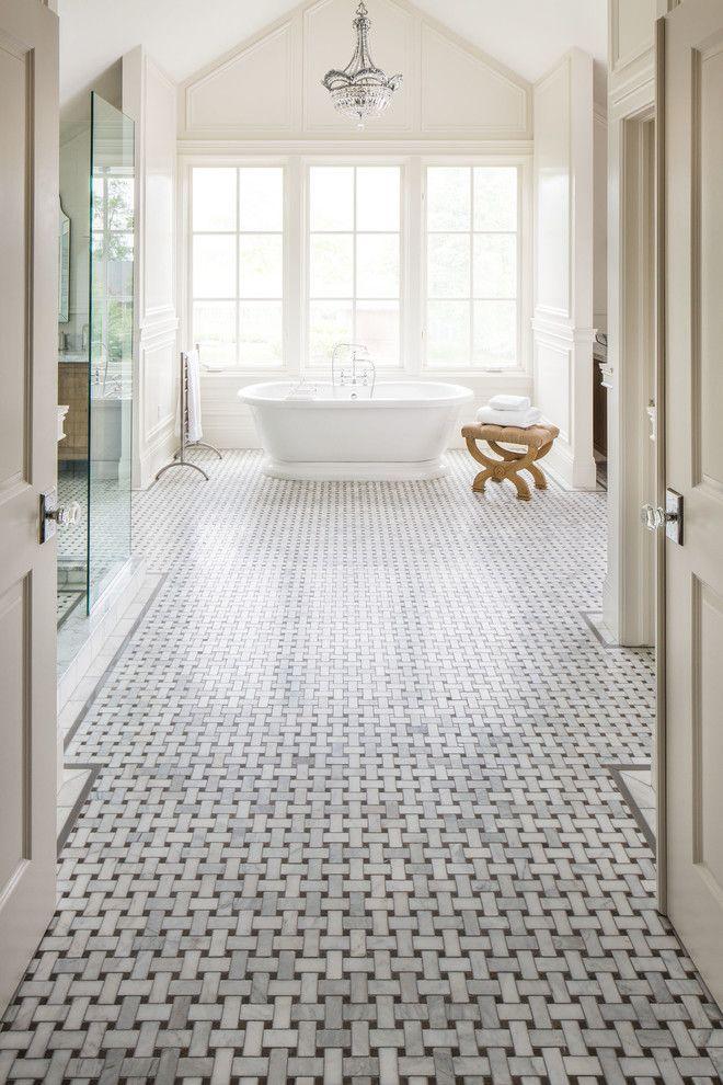basket weave tile bathroom traditional