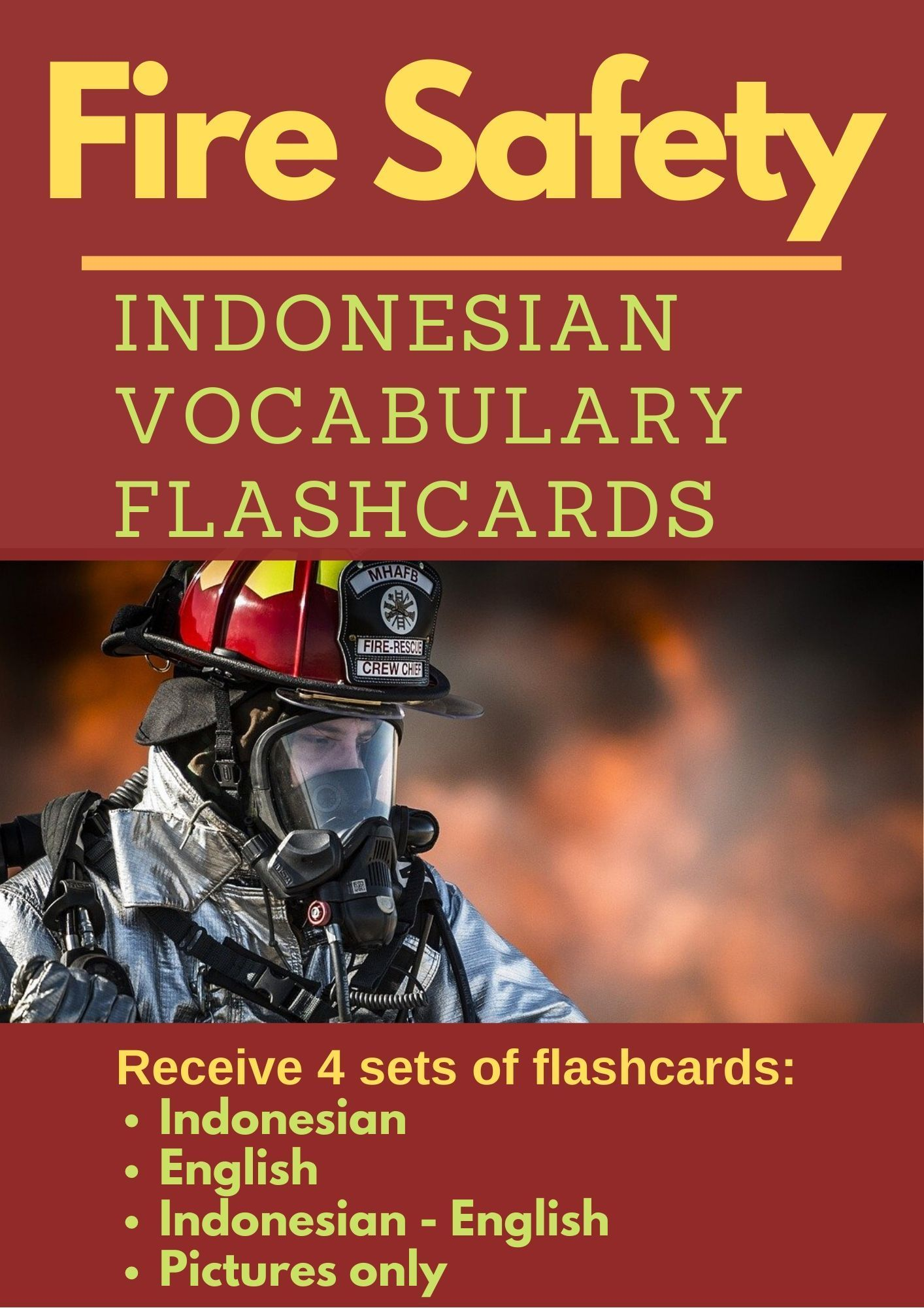 Fire Safety Indonesian Vocabulary Flashcards Keamanan