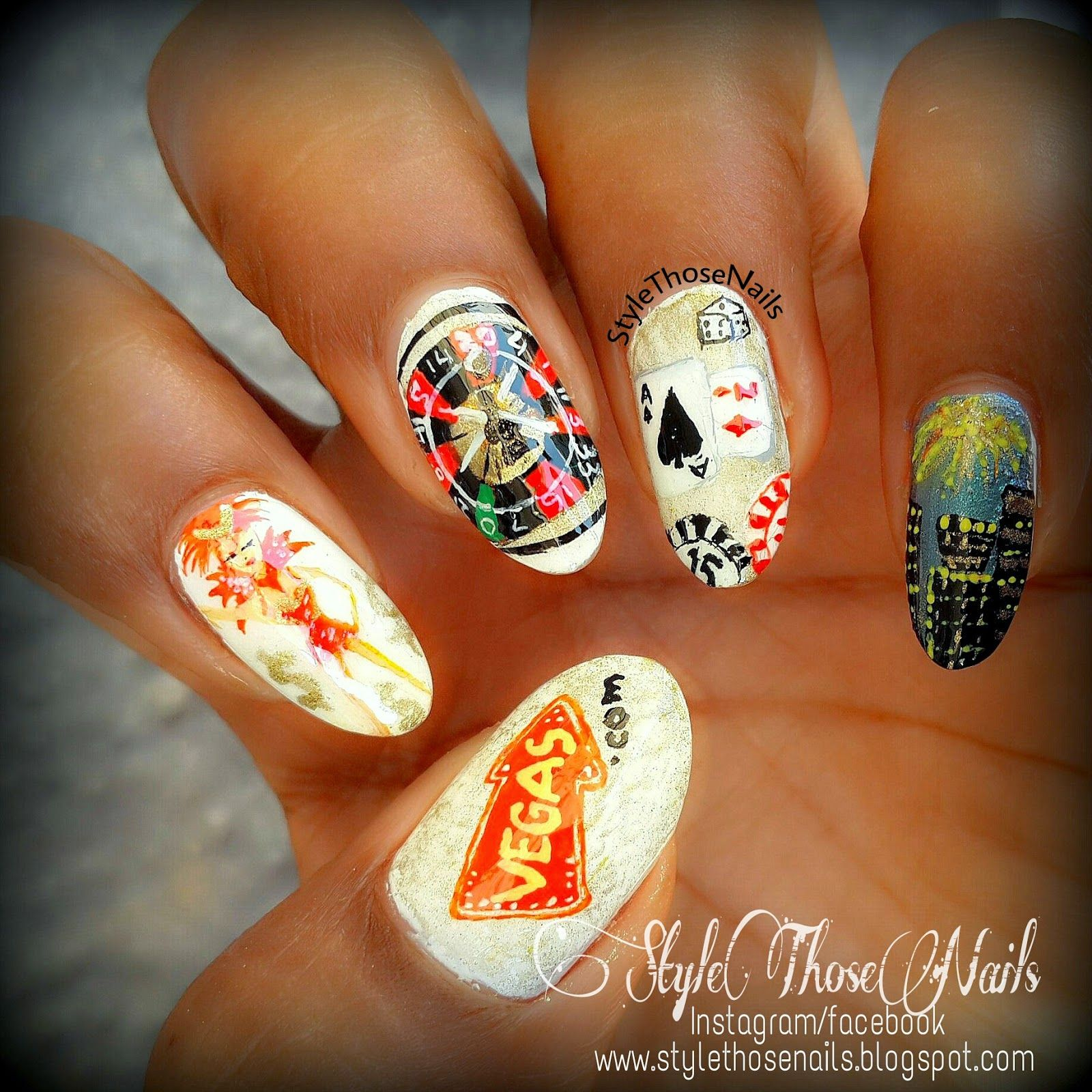 Style Those Nails: Night out in Vegas: A Las-Vegas Themed Nail Art ...