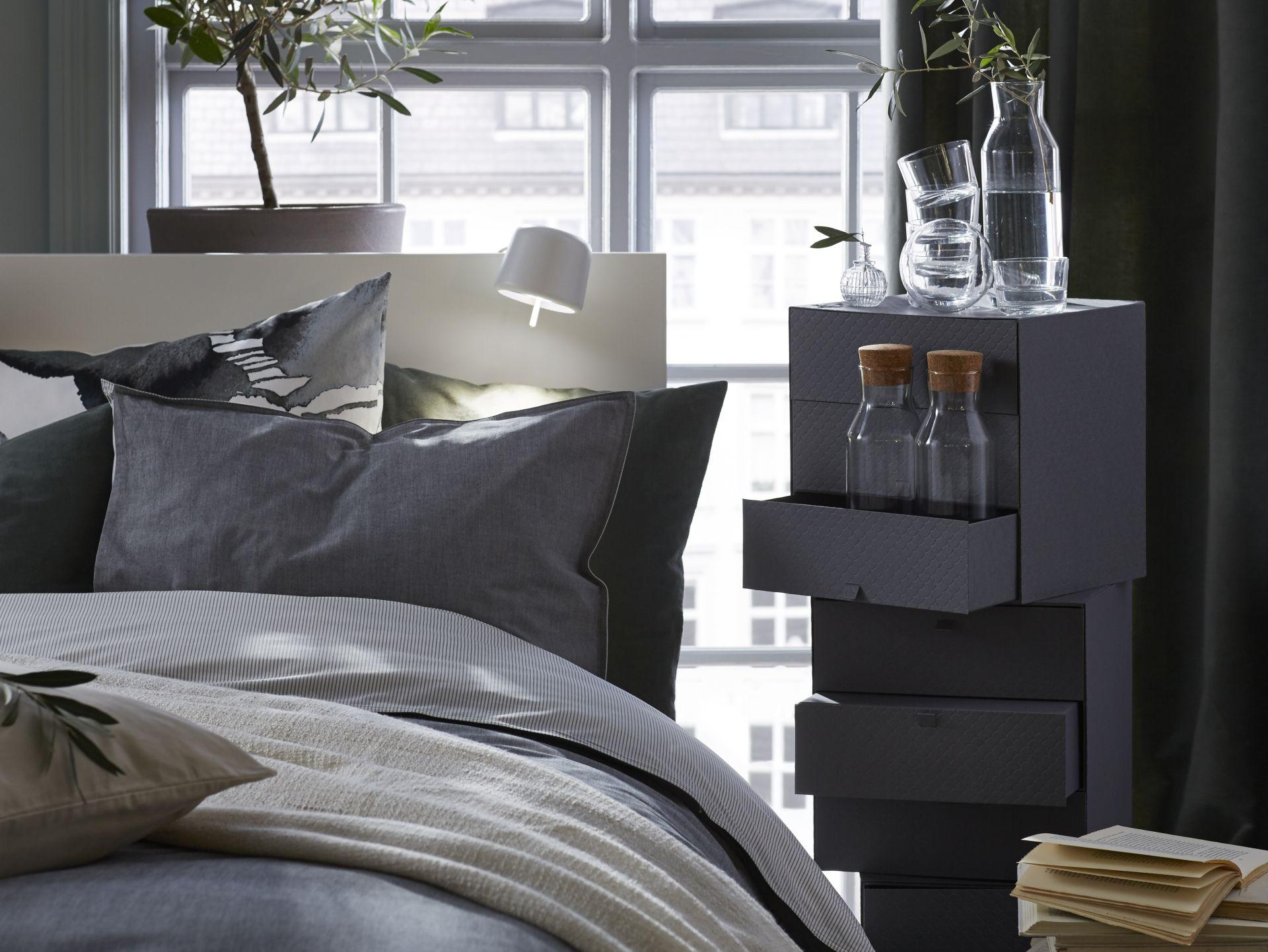 Slaapkamer Interieur Grijs : BlÅvinda dekbedovertrek met slopen grijs met and