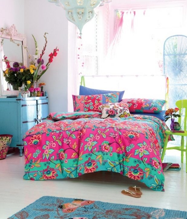 Boho Bedroom Ideas: Winsome Cute Chic Boho Bedroom Ideas With Colorful  Bedding And Unique Lighting And Green Chair For A Flower Vase And Blue  Drawer With ...