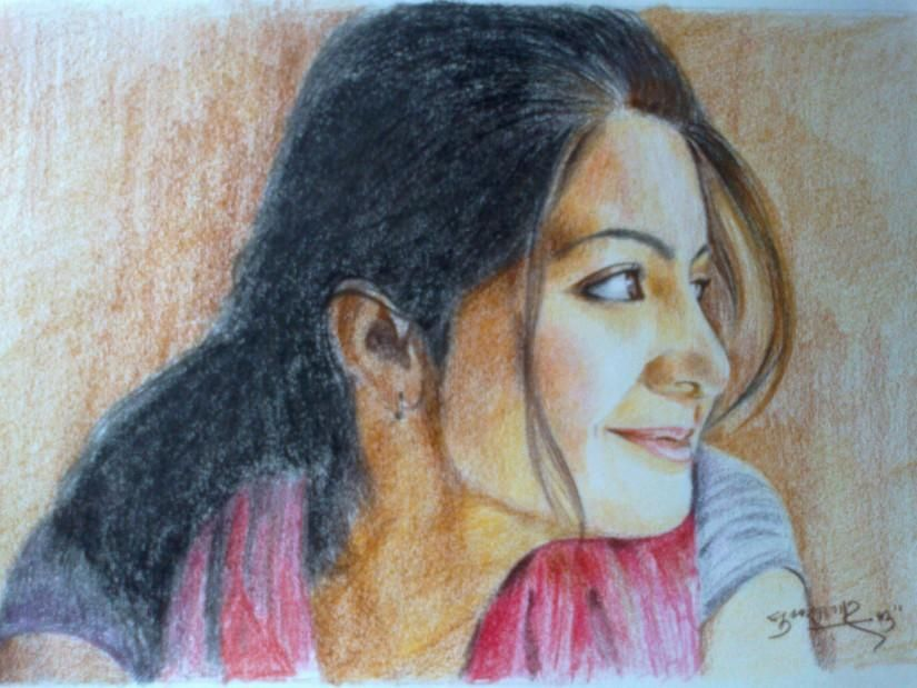 Anushka sharma sketching by sukh sagar chauhan in coloured pencil sketches at touchtalent