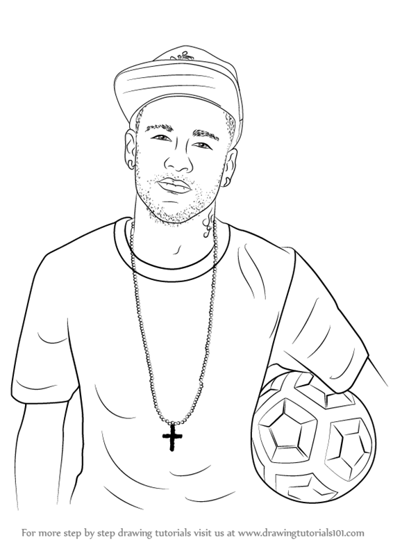 learn how to draw neymar jr footballers step by step