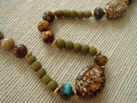 Brown & Olive for Autumn / Necklace / Agate / by SaraRiley on Etsy